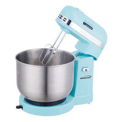 Brentwood SM-1162BL 250 Watt 5 Speed 3.5 Quart Kitchen Chef Countertop Baking Stand Mixer with 2 Beaters and Dough Hook Attachment, Blue