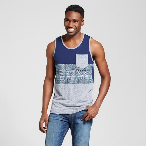 Men's Vented Hem Tank with Pocket - Mossimo Supply Co.™ Navy S - image 1 of 2