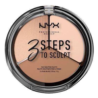 NYX Professional Makeup 3 Steps to Sculpt Face Sculpting Pressed Powder Palette - 0.54oz