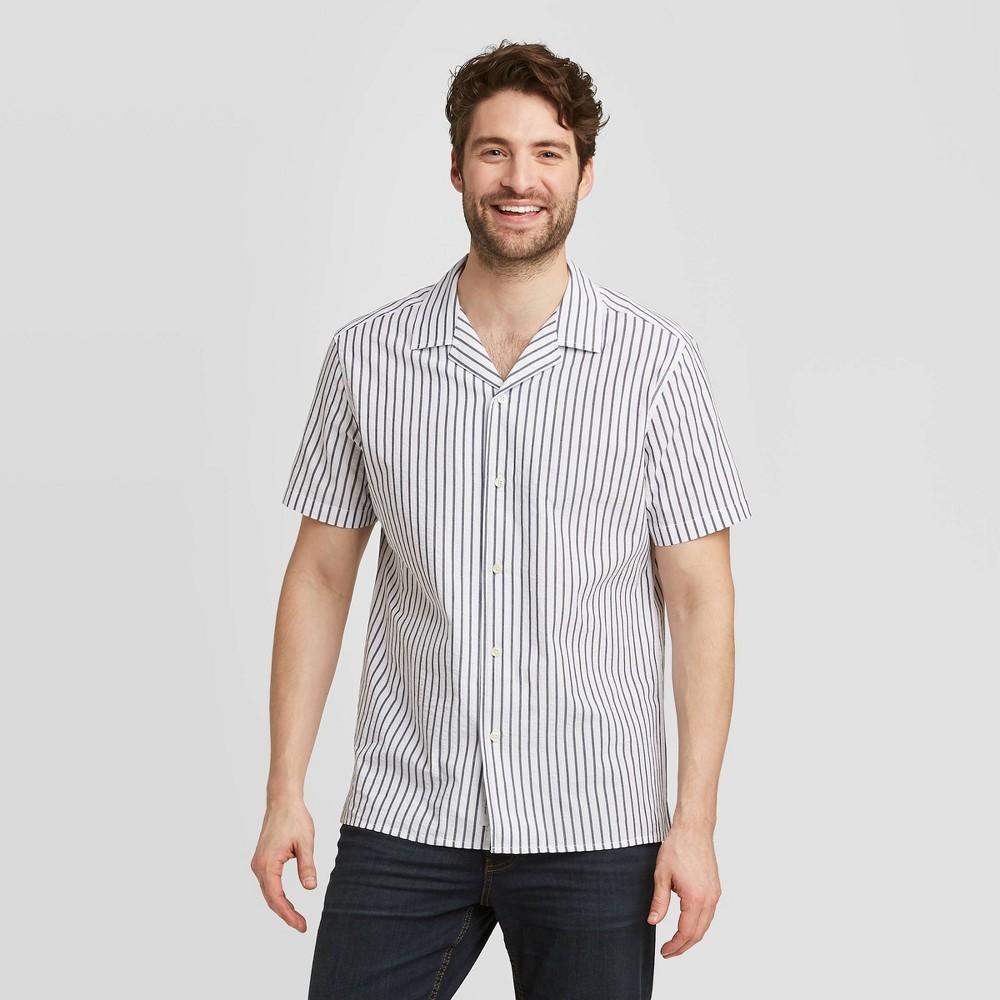 Men's Standard Fit Short Sleeve Seersucker Camp Shirt - Goodfellow & Co True White Stripe XL was $19.99 now $12.0 (40.0% off)