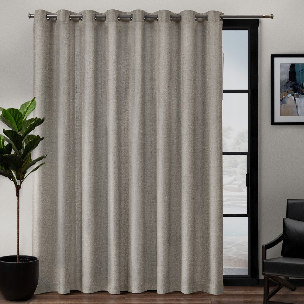 "Image of ""108""""x84"""" Loha Patio Grommet Top Single Curtain Panel Beige - Exclusive Home"""