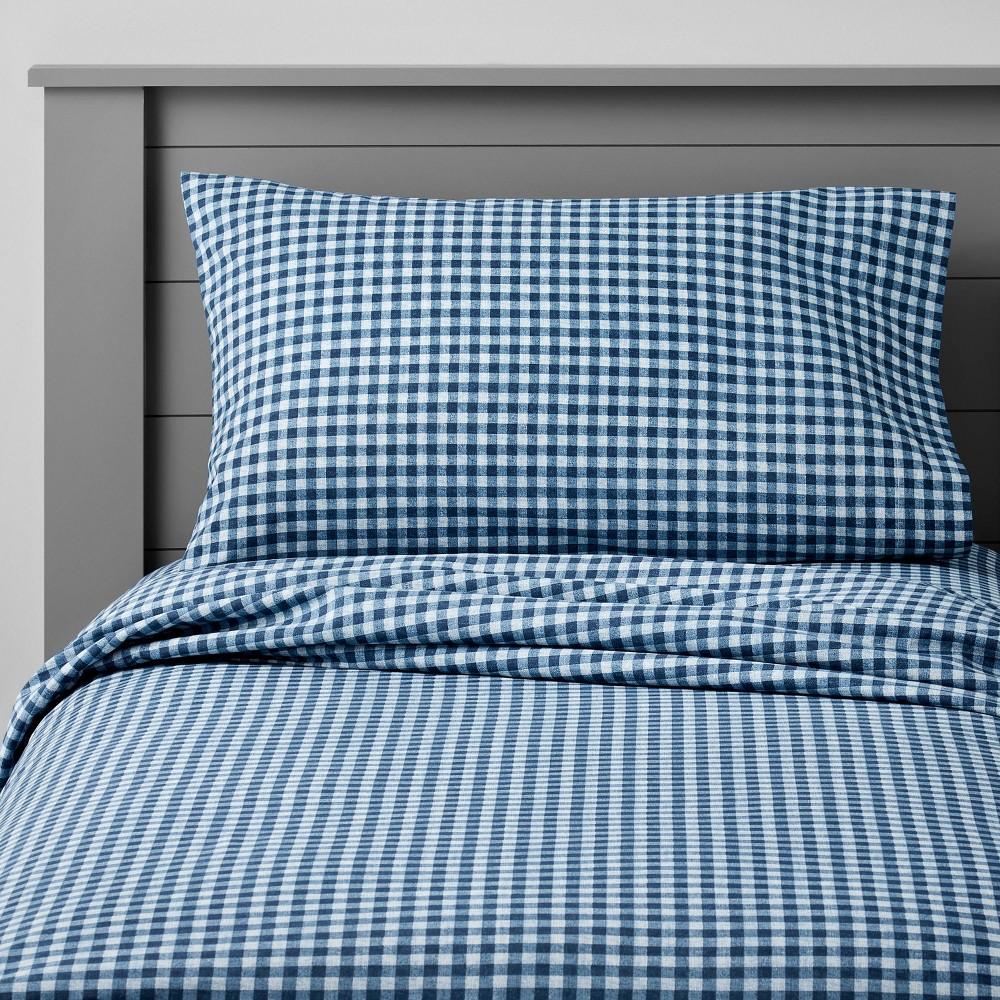 Queen Gingham Cotton Sheet Set Navy Pillowfort 8482