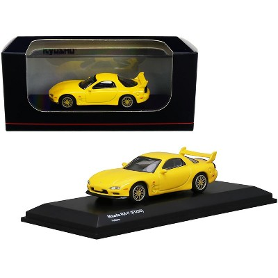 Mazda RX-7 (FD3S) RHD (Right Hand Drive) Yellow with Gold Wheels 1/64 Diecast Model Car by Kyosho