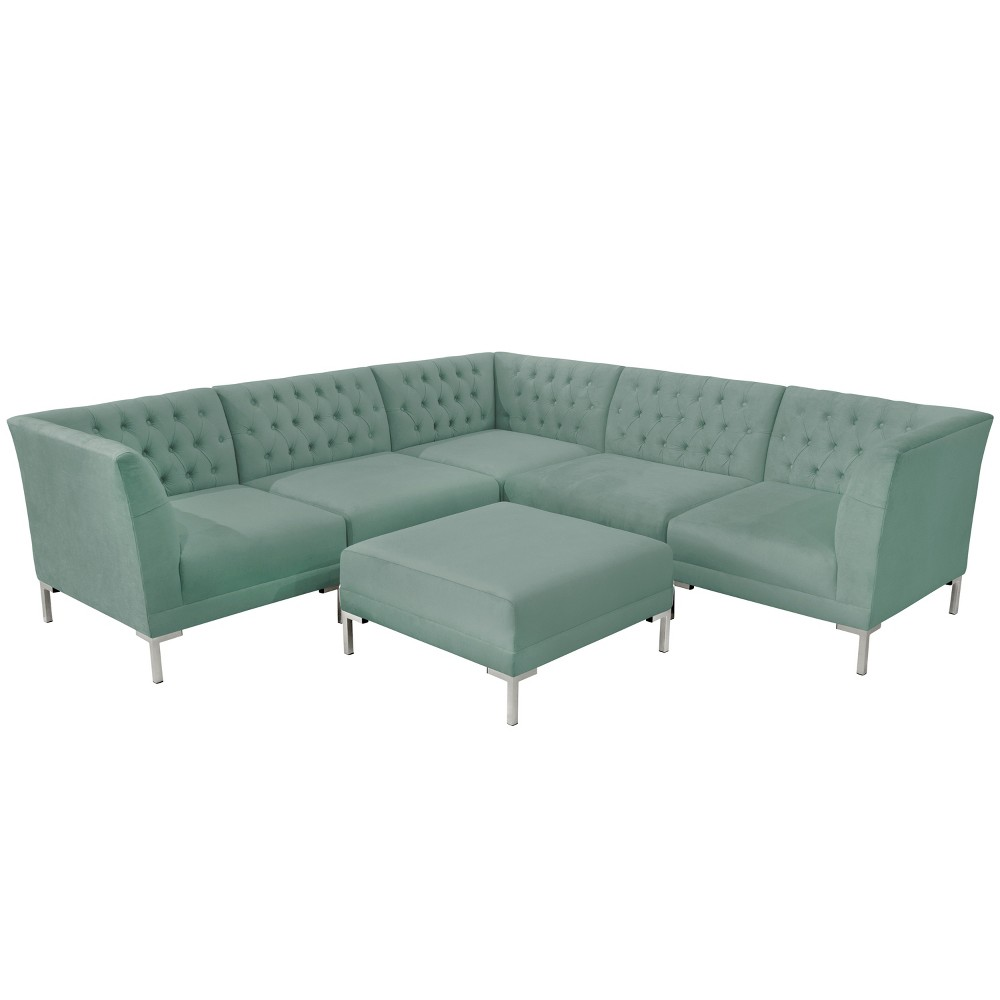 6pc Audrey Diamond Tufted Sectional Teal Velvet and Silver Metal Y Legs - Cloth & Co.