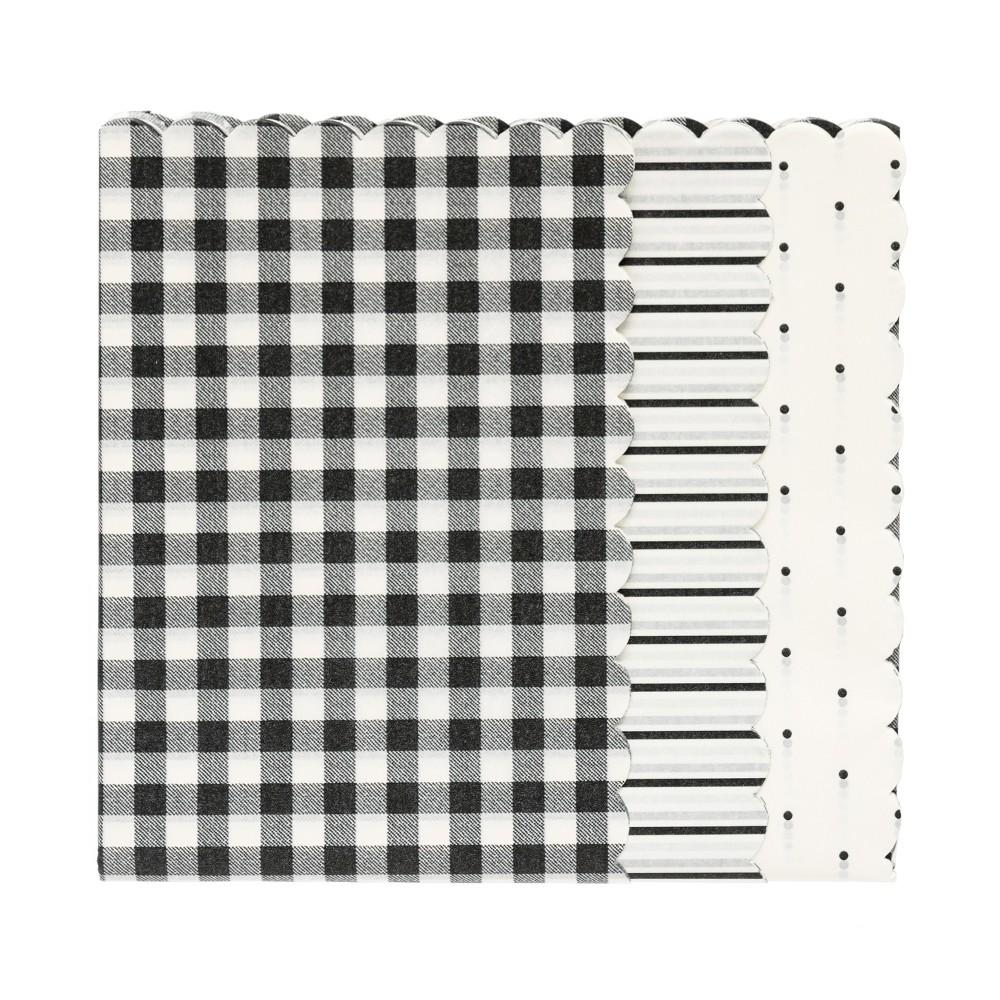 Black + Cream Scallop Gift Tissue - sugar paper, White