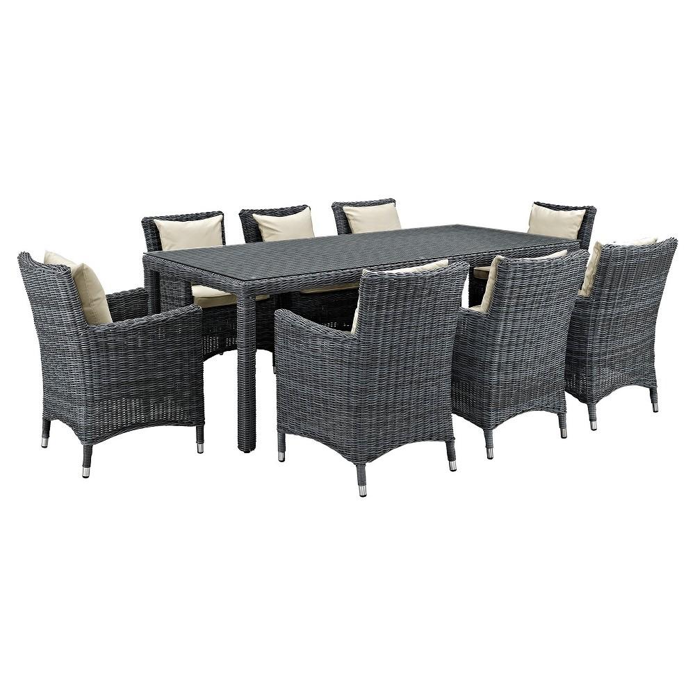 Summon 9pc 83 Rectangle All-Weather Wicker Patio Dining Set w/ Sunbrella Fabric - Light Beige - Modway