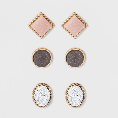 SUGARFIX by BaubleBar Druzy Stud Earring Set 3pc - Pink