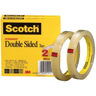 Scotch 665 Double-Sided Tape, 0.50 x 1296 Inches, Clear, pk of 2
