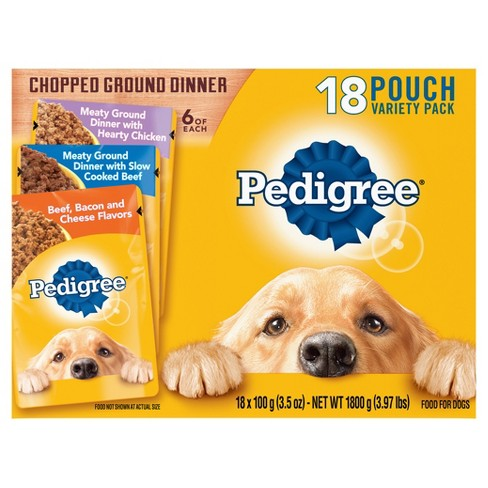 Pedigree Slow Cooked Beef, Hearty Chicken and Beef, Bacon & Cheese Wet Dog Food - 18ct Variety Pack - image 1 of 4