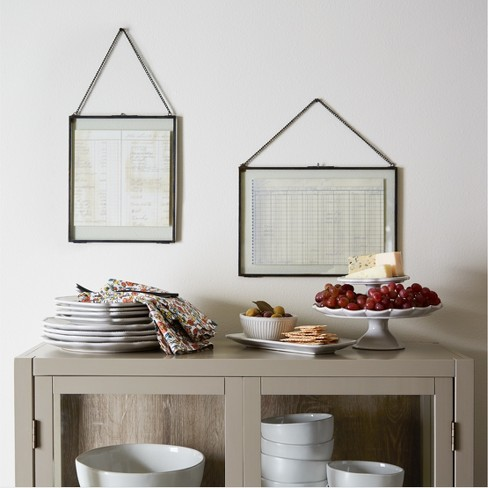 pressed glass wall frame with chain hearth hand with magnolia
