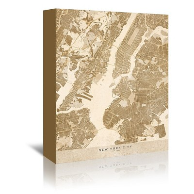 Americanflat Map Of New York City In Vintage Sepia by Blursbyai Wrapped Canvas