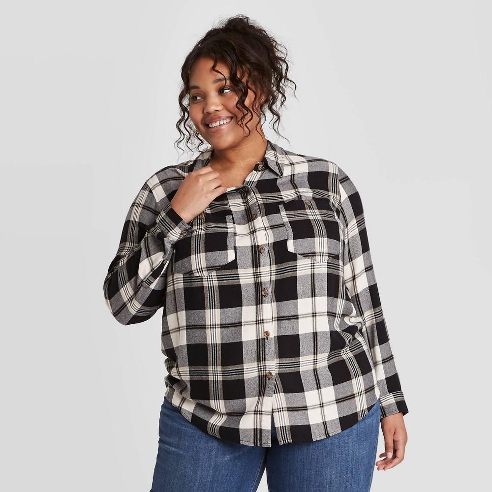 Coupons Women's Plus Size Long Sleeve Plaid Button-Down Tunic Shirt  - Ava & Viv™