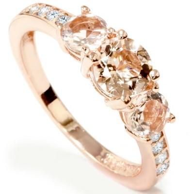 Pompeii3 1ct Morganite & Diamond 3-Stone Ring 10k Rose Gold
