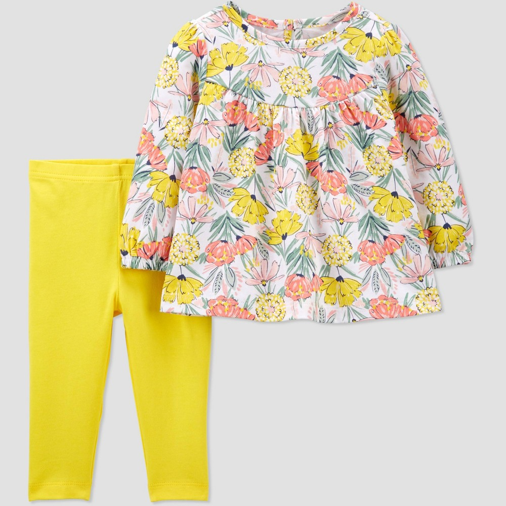 Baby Girls 39 2pc Floral Top 38 Bottom Set Just One You 174 Made By Carter 39 S Yellow 9m