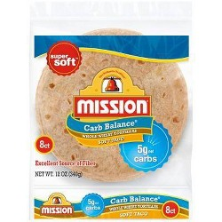 Mission Taco Size Carb Balance Whole Wheat Tortillas - 12oz/8ct