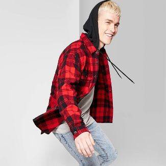 Men's Plaid Casual Fit Long Sleeve Detachable Hood Button-Down Shirt - Original Use™ Dynamic Red XS