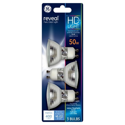 General Electric 50w 3pk Reveal GU10 Halogen Light Bulb