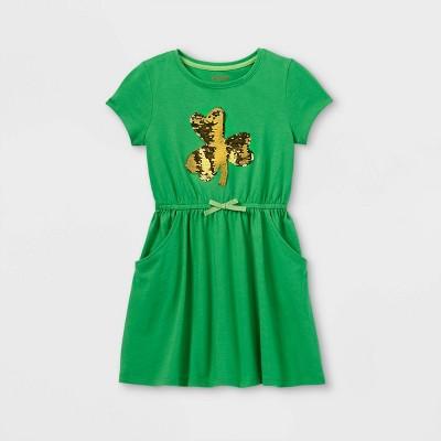 Girls' Flip Sequin Shamrock Short Sleeve Knit Dress - Cat & Jack™ Green XS
