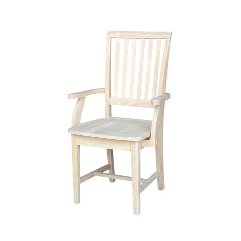 Mission Side Chair with Arms Unfinished - International Concepts - image 1 of 4