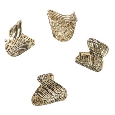 4pc Gold Neptune Wavy Design Napkin Ring 1.5  - Saro Lifestyle®