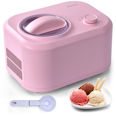 Costway Ice Cream Maker 1.1 QT Automatic Frozen Dessert Machine w/ Spoon White\Green\Pink\Silver