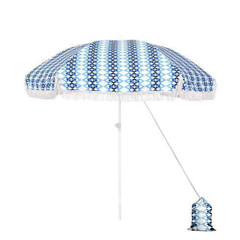6.5' Beach Umbrella - Fiberglass Pole Blue/White - Astella - image 1 of 4