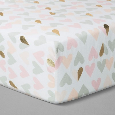 Crib Fitted Sheet Metallic Hearts - Cloud Island™