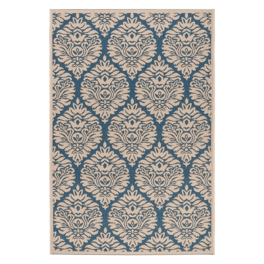 4'X6' Damask Loomed Area Rug Blue/Cream (Blue/Ivory) - Safavieh