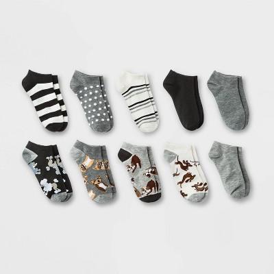 Women's Playful Pups 10pk Low Cut Socks - Xhilaration™ Black/Gray/White 4-10