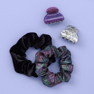 Girls' 4pk Claw Clip and Metallic Twister - More Than Magic™ Purple