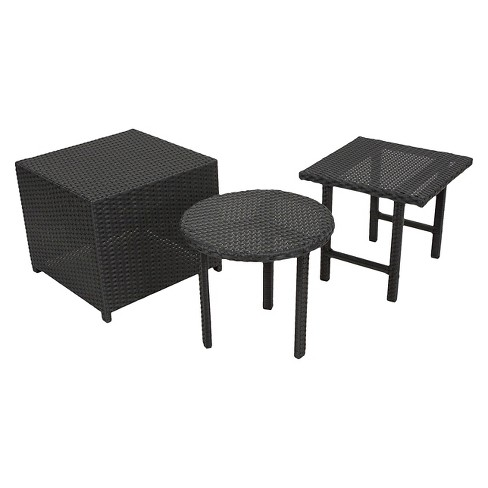 Danica Set of 3 Wicker Patio Tables - Black - Christopher Knight Home - image 1 of 4