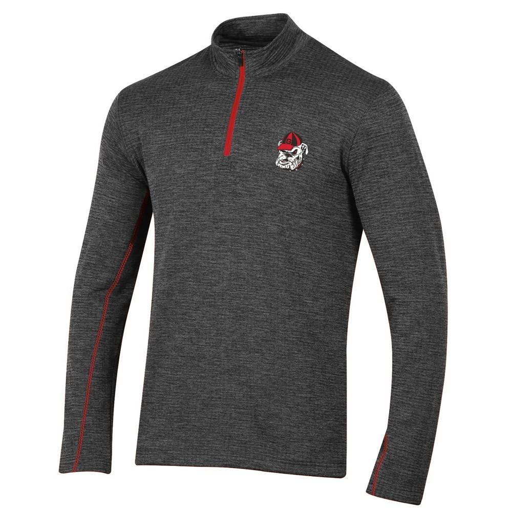 Georgia Bulldogs Men's Long Sleeve Digital Textured 1/4 Zip Fleece - Gray M