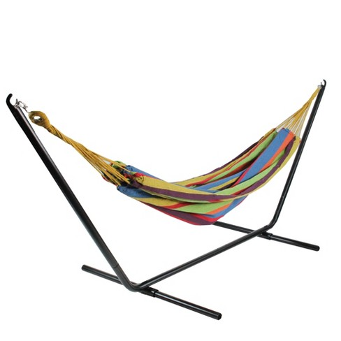 "Northlight 72"" x 57"" Striped Woven Double Brazilian Hammock - Yellow/Blue - image 1 of 4"