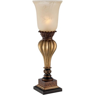 Regency Hill Sattley Gold Finish Console Lamp with Alabaster Glass