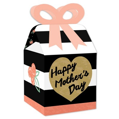 Big Dot of Happiness Best Mom Ever - Square Favor Gift Boxes - Mother's Day Party Bow Boxes - Set of 12