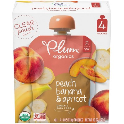 Plum Organics Stage 2 Peach Banana & Apricot Baby Food Pouch - (Select Count)