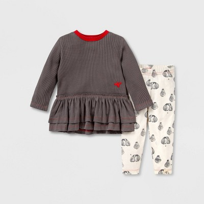 Burt's Bees Baby® Baby Girls' Organic Cotton Thermal Tunic and Penguin Print Leggings Set - Gray 3M