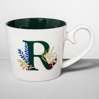 16oz Stoneware Monogram Mug Cream R - Opalhouse™