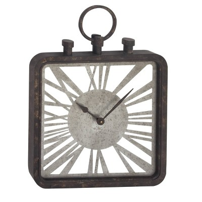 """27"""" x 19"""" Industrial Square Open Design Wood and Iron Wall Clock - Olivia & May"""