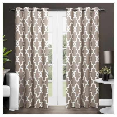 Ironwork Sateen Woven Room Darkening Window Curtain Panel Pair Taupe (52 x96 )- Exclusive Home™