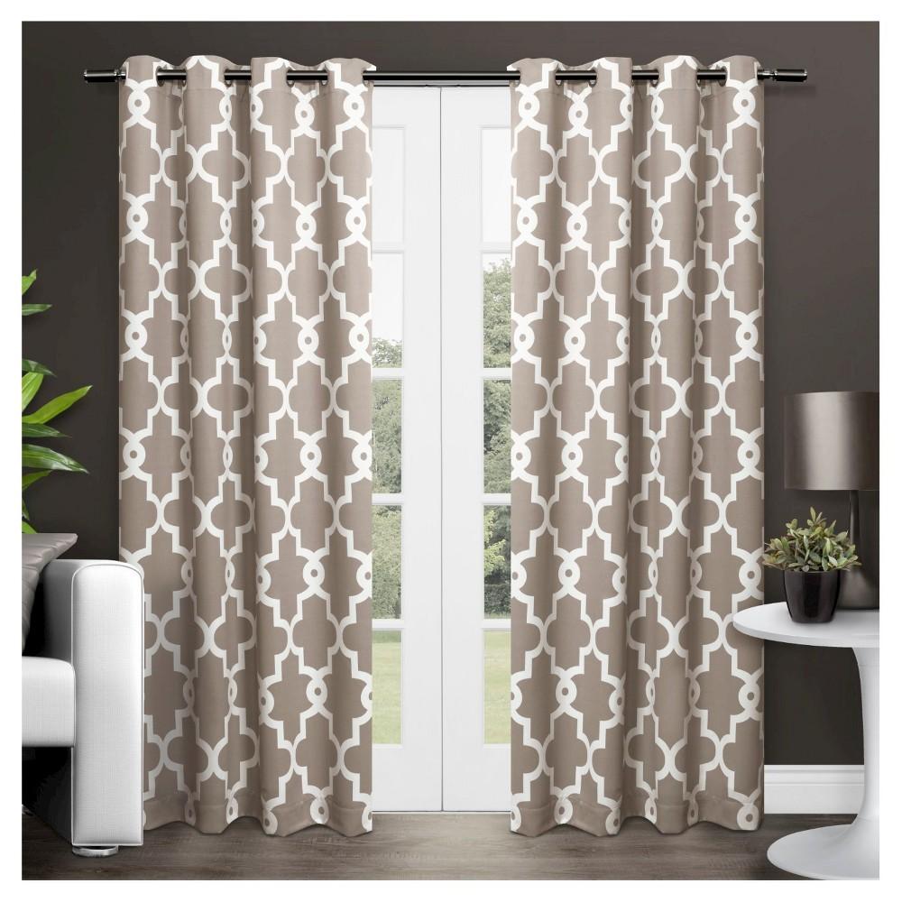 Ironwork Sateen Woven Room Darkening Window Curtain Panel Pair Taupe (Brown) (52x108) - Exclusive Home