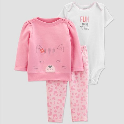 Baby Girls' 3pc Cat Cardigan Set -Just One You® made by carter's Pink/White 9M