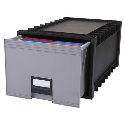Storex Plastic Archive Storage Box - Black/Gray