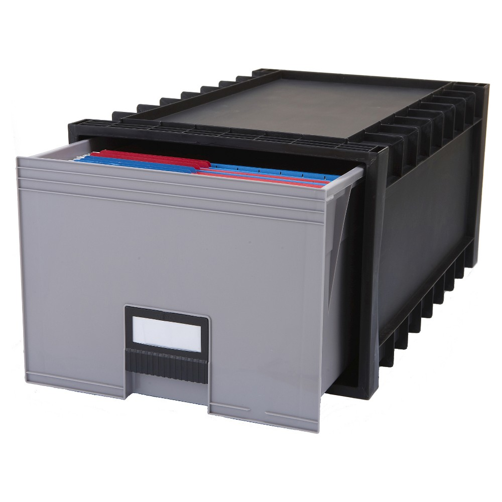Storex Plastic Archive Storage Box - Black/Gray