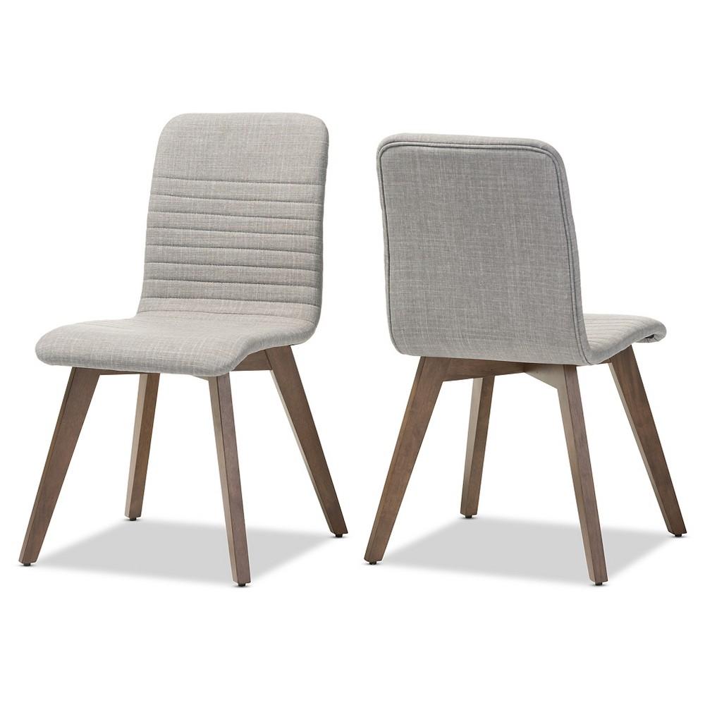 Sugar Mid-century Retro Modern Scandinavian Style Light Gray Fabric Upholstered Walnut Wood Finishing Dining Chairs (Set of 2) - Baxton Studio, Lt Grey