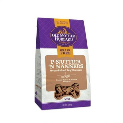Old Mother Hubbard Grain Free Crunchy P-Nuttier 'N Nanners Biscuits Mini Oven Baked Dog Treats – 16oz