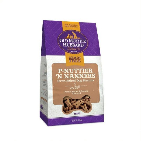 Old Mother Hubbard Grain Free Crunchy P-Nuttier 'N Nanners Biscuits Mini Oven Baked Dog Treats – 16oz - image 1 of 3