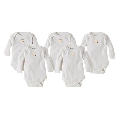 Burts Bees Baby™ Newborn Neutral 5 Pack Long Sleeve Bodysuit - Cloud 0-3 M