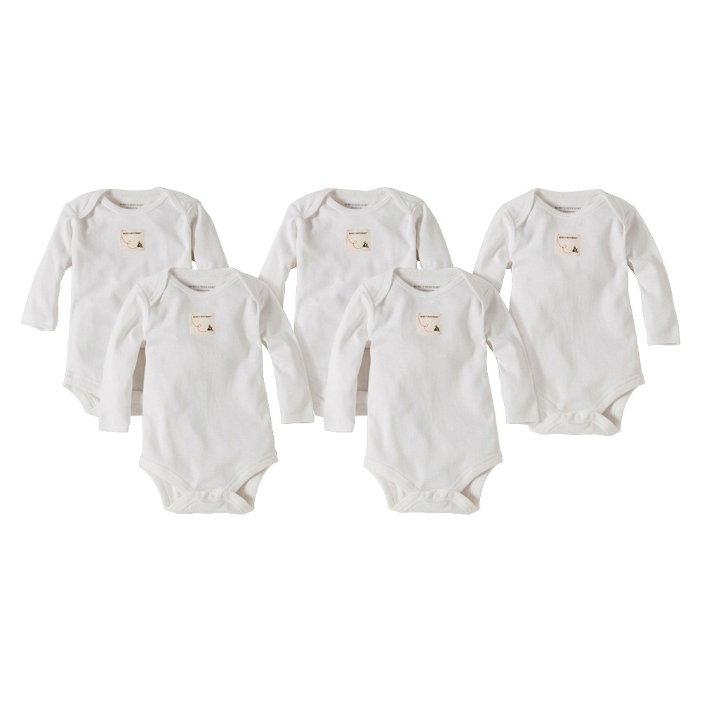 Burts Bees Baby Newborn Neutral 5 Pack Long Sleeve Bodysuit - Cloud 12 M, Newborn Unisex, Size: 12M