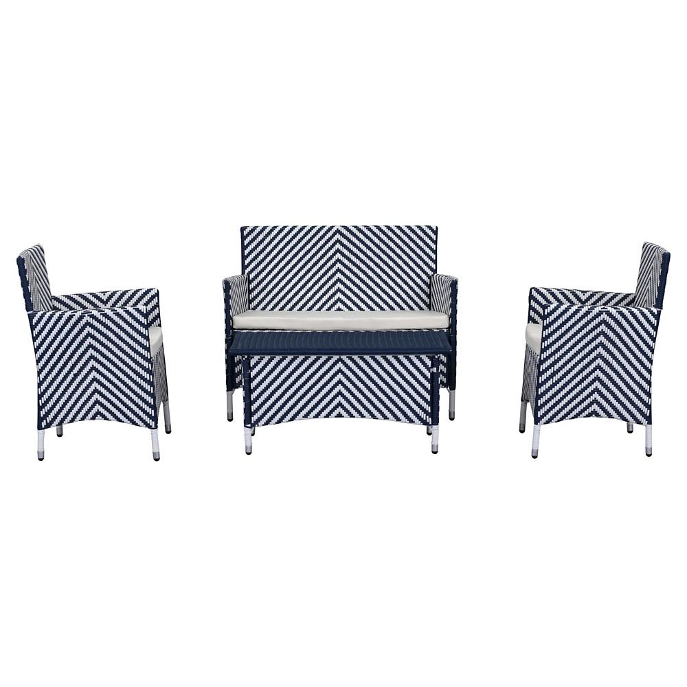 Figueroa 4 Pc Outdoor Set - Navy (Blue) / White - Safavieh